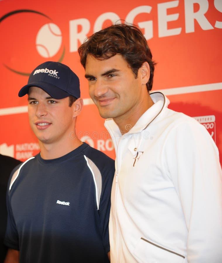 Cidney Crosby y Federer en la taza 2010 (13a) de Rogers fotografía de archivo