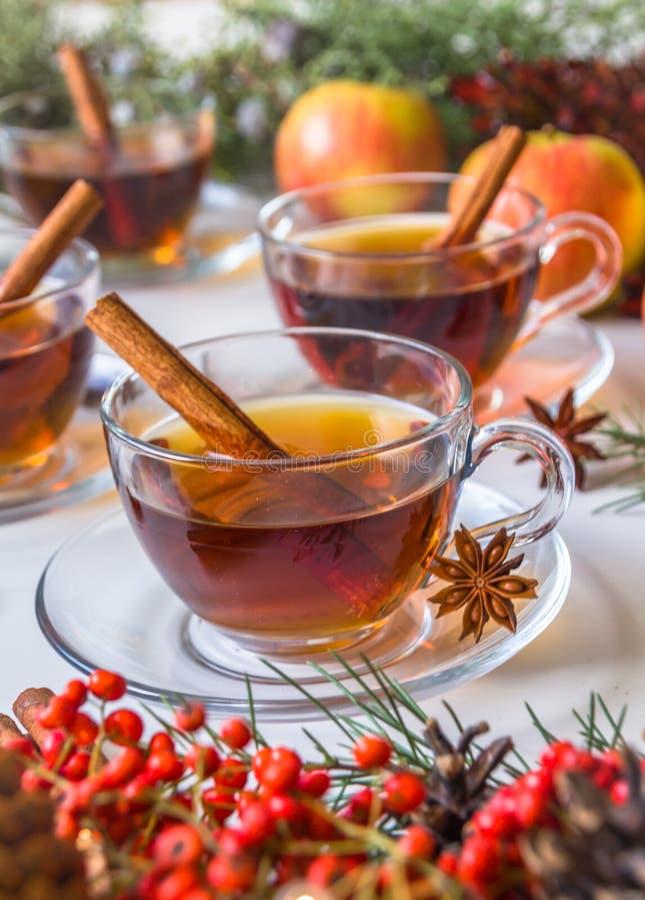 Cidre de pomme chauffé avec des épices : bâtons de cannelle, clous de girofle, anis sur la table blanche image libre de droits