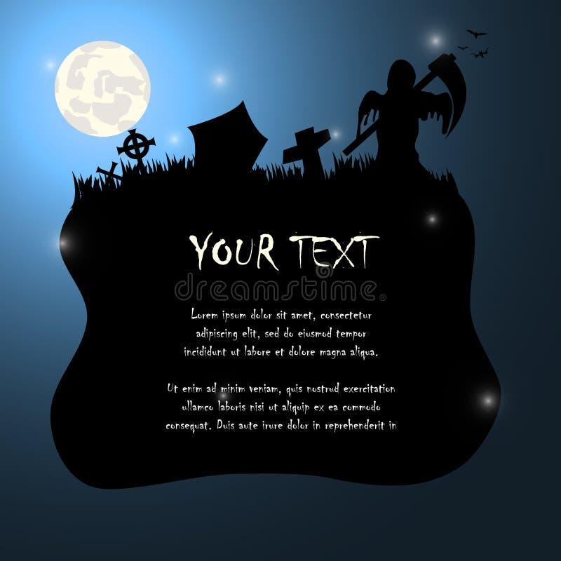 Cień śmierć z kosy Halloween tłem ilustracji