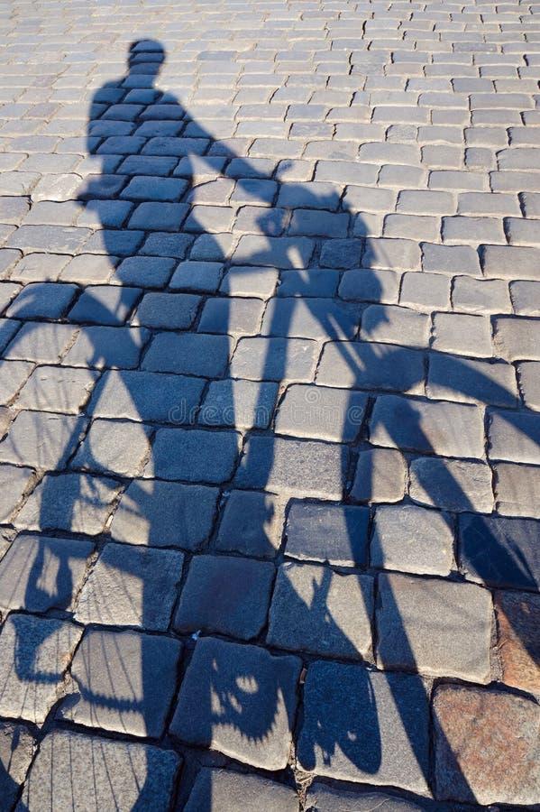 Cień cyklista zdjęcie stock