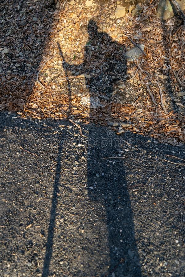 Cień osoba z chodzącym kijem przeciw żwir drodze, ulistnieniu przydrożem i obrazy stock