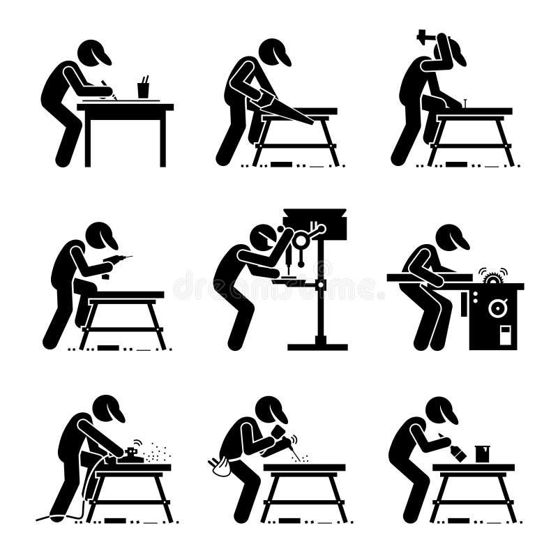 Cieśli Woodworking Clipart ilustracja wektor