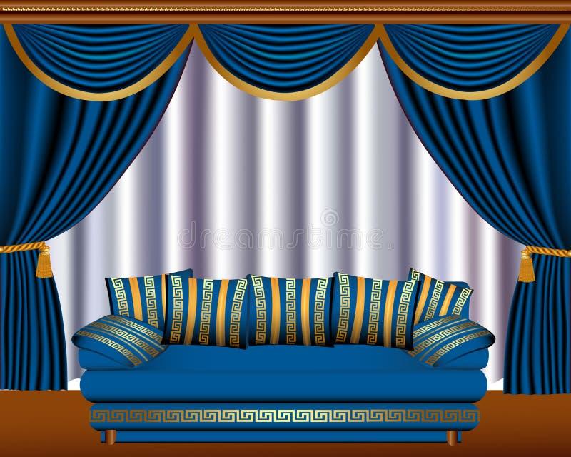 Ciechi di finestra con la ciste ed il sofà illustrazione di stock