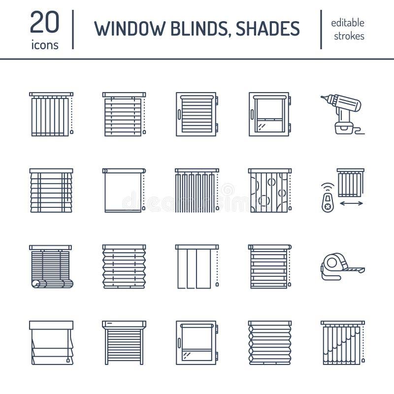Ciechi di finestra, linea icone delle tonalità Decorazione della varia stanza, otturatori di scurimento del rullo, tende romane,  royalty illustrazione gratis