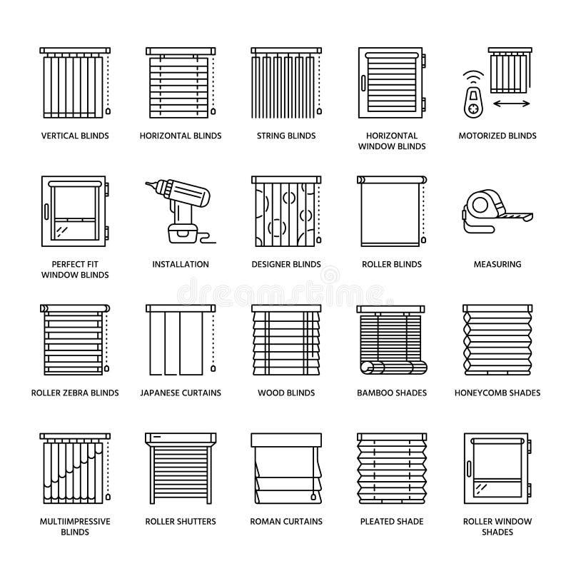 Ciechi di finestra, linea icone delle tonalità Decorazione della varia stanza, otturatori di scurimento del rullo, tende romane,  illustrazione di stock