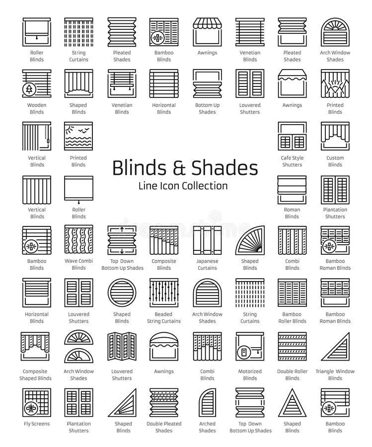 Ciechi & tonalità Otturatori della finestra & tende del pannello EL domestico della decorazione royalty illustrazione gratis