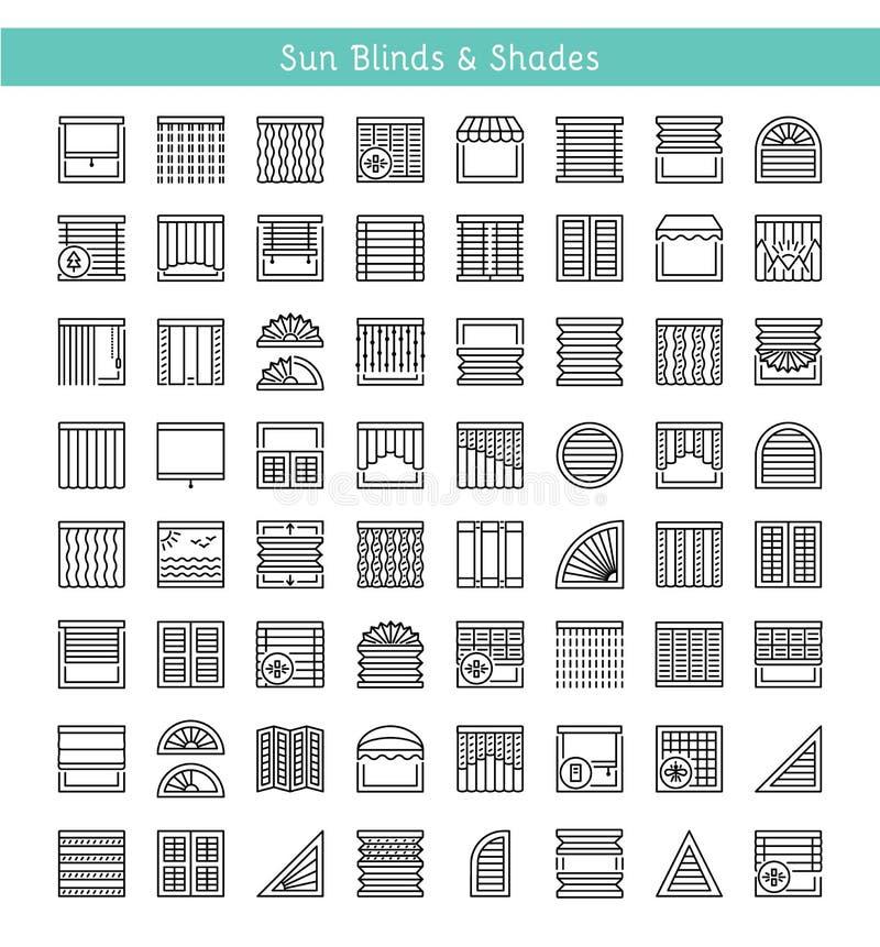 Ciechi & tonalità Protezione di Sun Otturatori & pannello interni bruschi illustrazione di stock