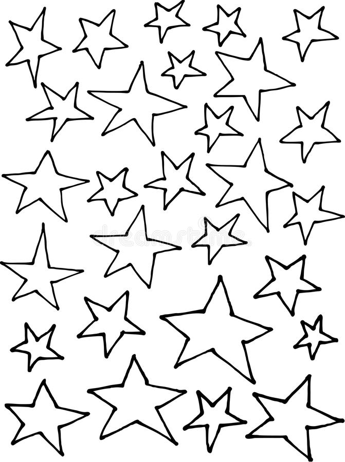 Ciecz kreskowe nieregularne gwiazdy wręczają patroszonego nadmiernego biel ilustracji