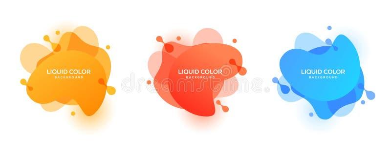 Ciekłego koloru tła projekta wektorowy szablon Rzadkopłynny gradient kształtuje skład ilustracja wektor