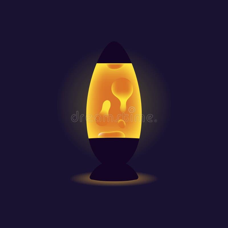 Ciekła lampa Pomarańczowa lawowa lampa na ciemnym tle Wewnętrzny element ilustracji