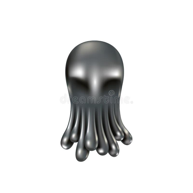 Ciekła metal ośmiornica Realistyczny chromu metalu kropelek spojrzenie jak ośmiornica czułki ilustracja wektor