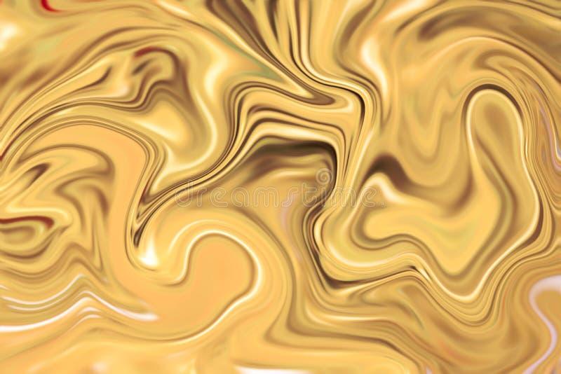 Ciekła złoto powierzchni grafika z żółtymi farbami Cennego metalu przepływu imago ilustracja wektor