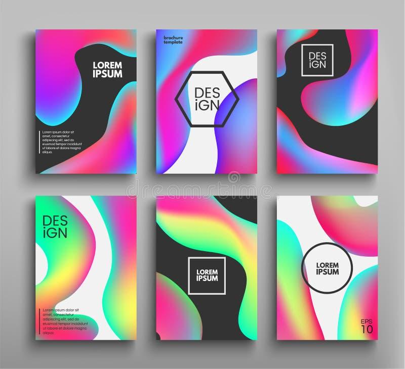 Ciekłe kolor broszurki, plakaty ustawiający kolor płyn Wektorowych szablonów futurystyczni plakaty, ulotki, tła dla twój ilustracja wektor
