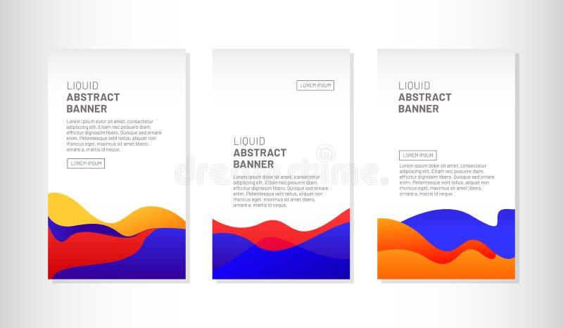 Ciekły abstrakcjonistyczny sztandaru tła projekt ilustracji