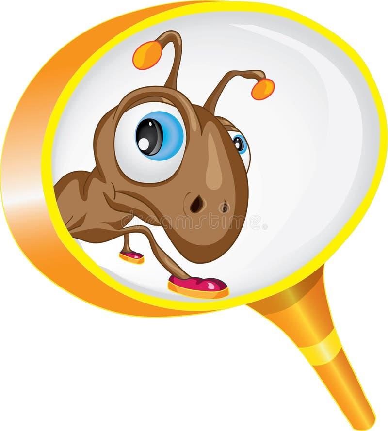 Ciekawa mrówka patrzeje przez powiększać - szkło ilustracji