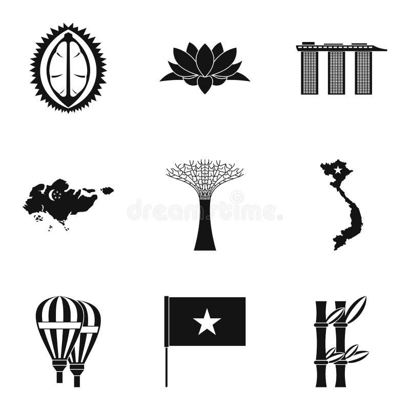 Ciekawe miejsce ikony ustawiać, prosty styl royalty ilustracja