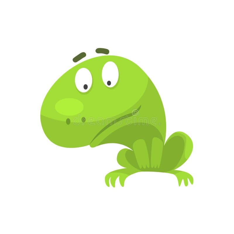 Ciekawego Zielonej żaby Śmiesznego charakteru kreskówki Dziecięca ilustracja royalty ilustracja