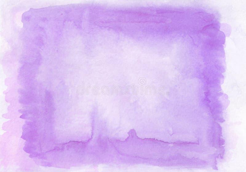 Ciekawić dwa warstew fiołka i bzu watercolour horyzontalnego gradientowego tło z malujący na specjalnej akwareli fotografia stock