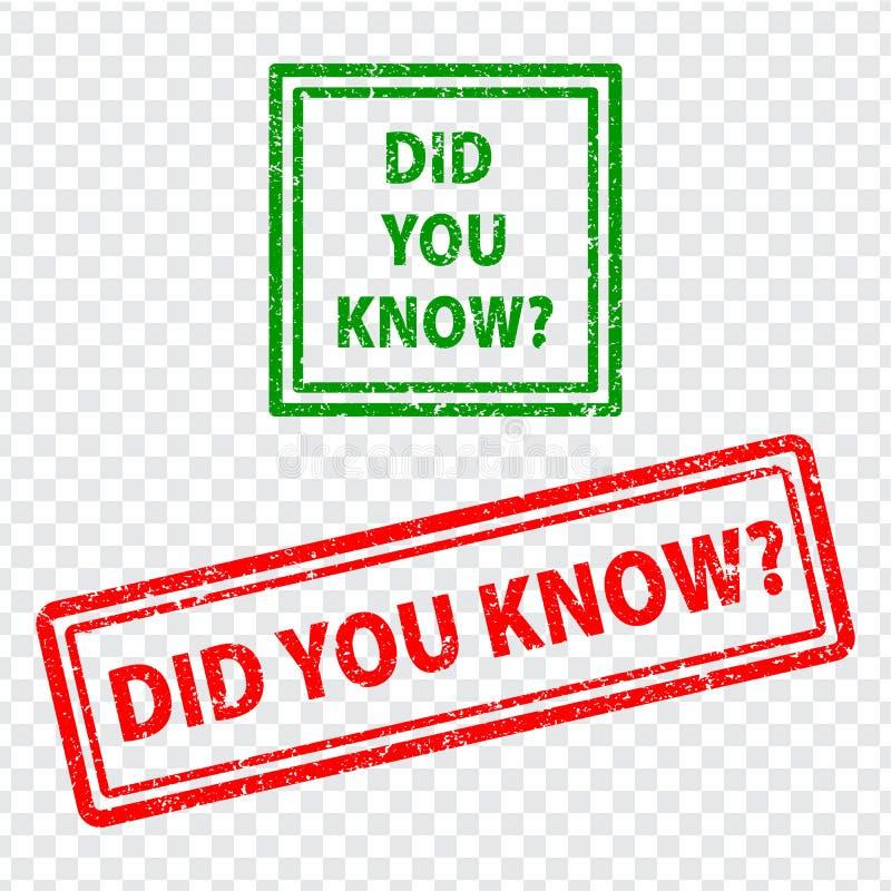 Ciekawi fact TY ZNAŁEŚ czerwieni i zieleni pieczątek tekst na przejrzystym tle ilustracja wektor