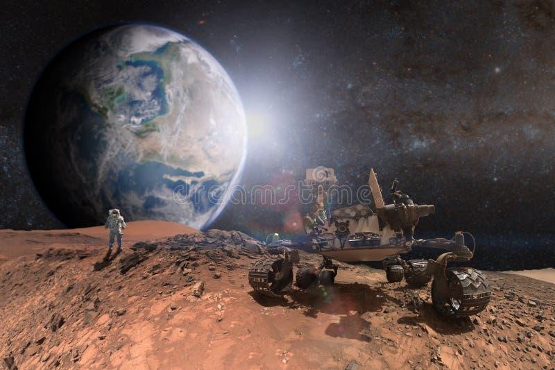Ciekawość Mars Rover bada powierzchnię czerwona planeta zdjęcie stock