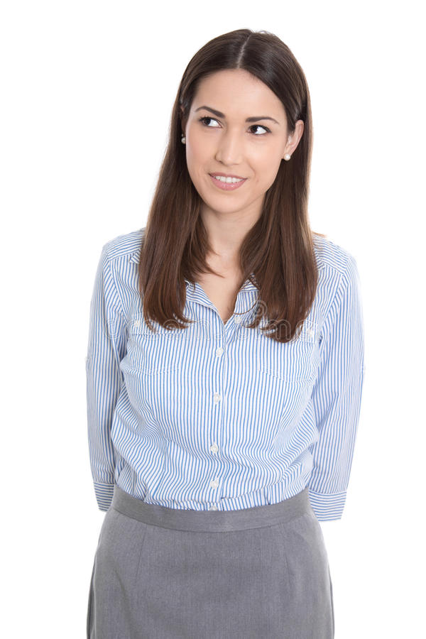 Ciekawy bizneswoman patrzeje na stronie. zdjęcie royalty free