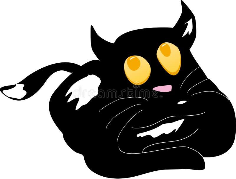 Ciekawy czarny kot ilustracji