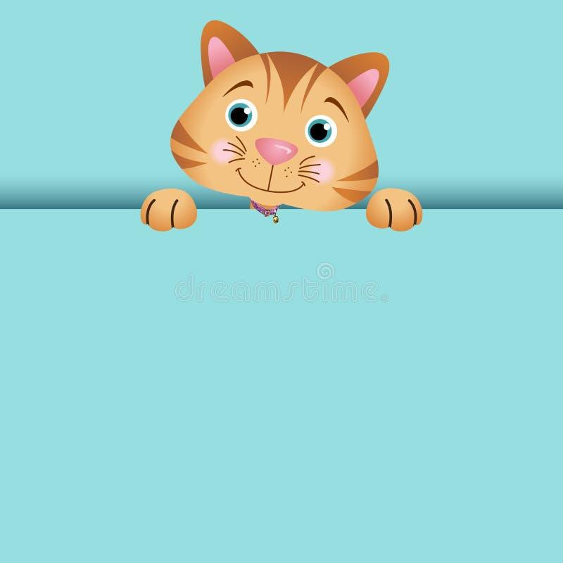 Ciekawy kota zerkanie out ilustracja wektor