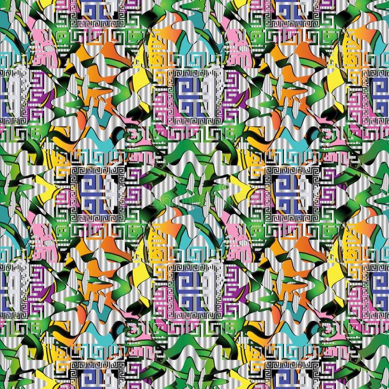 Ciekawy nowożytny kolorowy 3d grka klucza meander bezszwowy tupocze royalty ilustracja