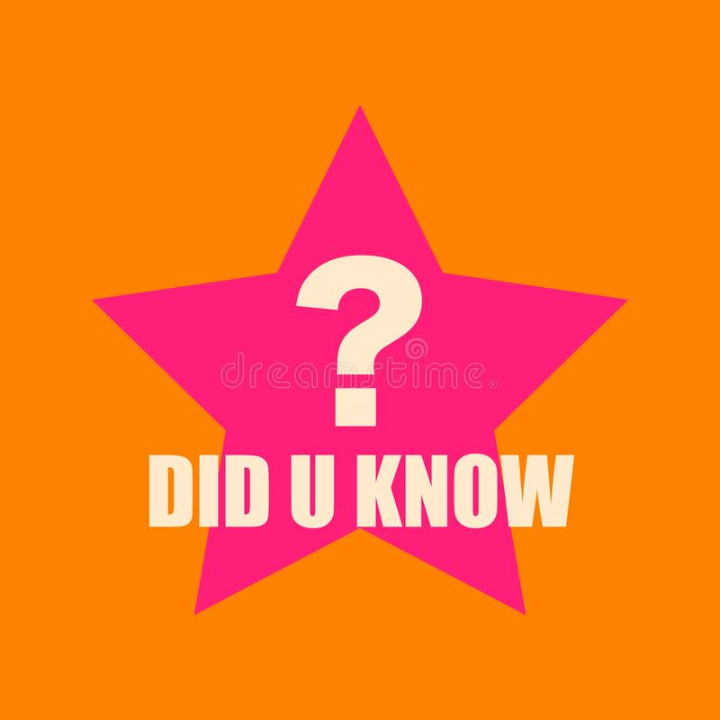Ciekawy pytanie Biały tekst ty znałeś z dużym pytanie znakiem na dużym menchii gwiazdy pomarańcze tle zdjęcie stock