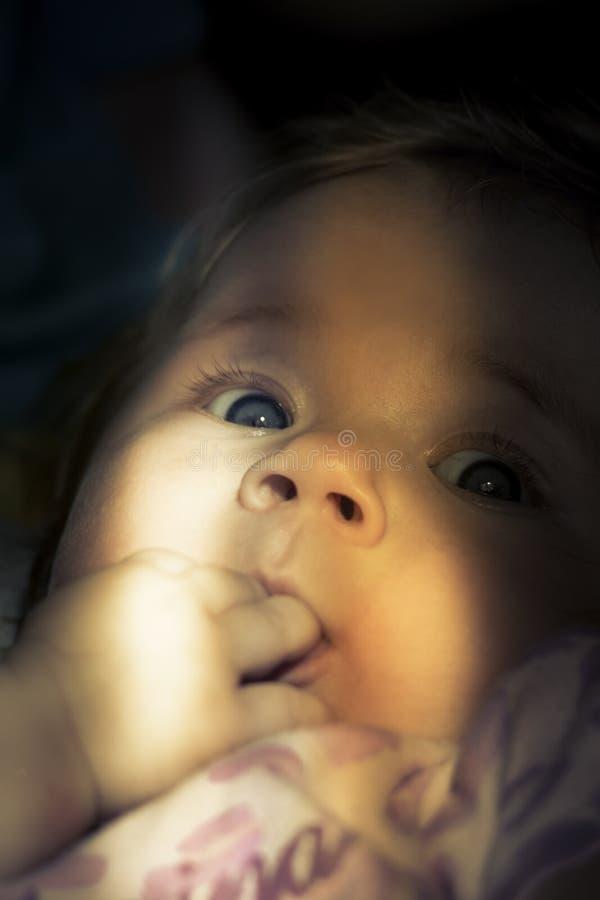 Ciekawy spojrzenie śliczny dziecko zdjęcia stock