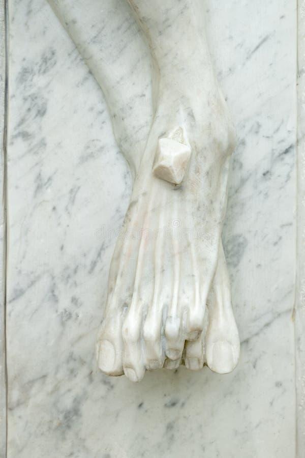 Cieki Chrystus przybijali krzyż zdjęcia stock