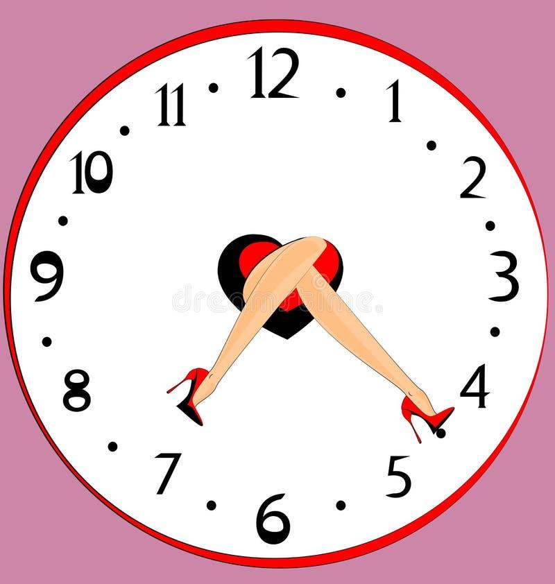 Cieki i zegar ilustracja wektor