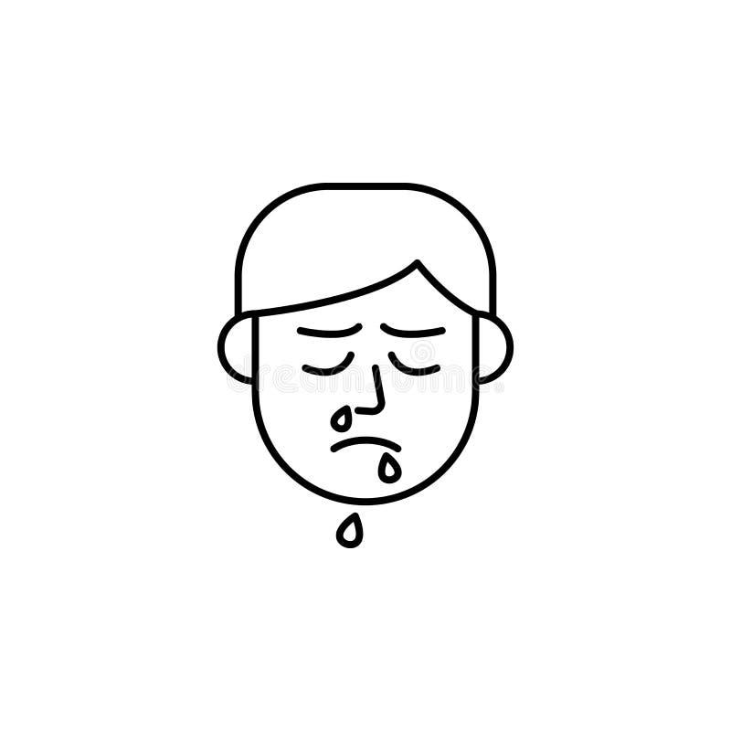 Cieknący nos, glut, alergii ikona Element problemy z alergii ikoną Cienka kreskowa ikona dla strona internetowa projekta i rozwoj ilustracja wektor