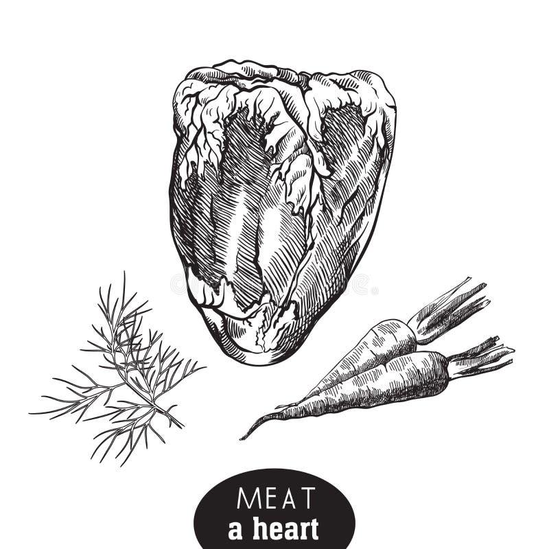 Cielęciien pikantność i serce royalty ilustracja