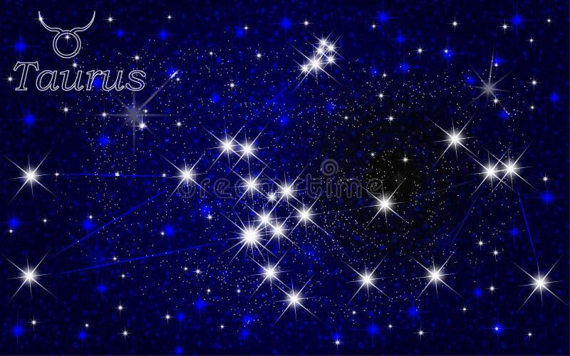 Ciel étoilé d'abrégé sur constellation de Taureau illustration libre de droits