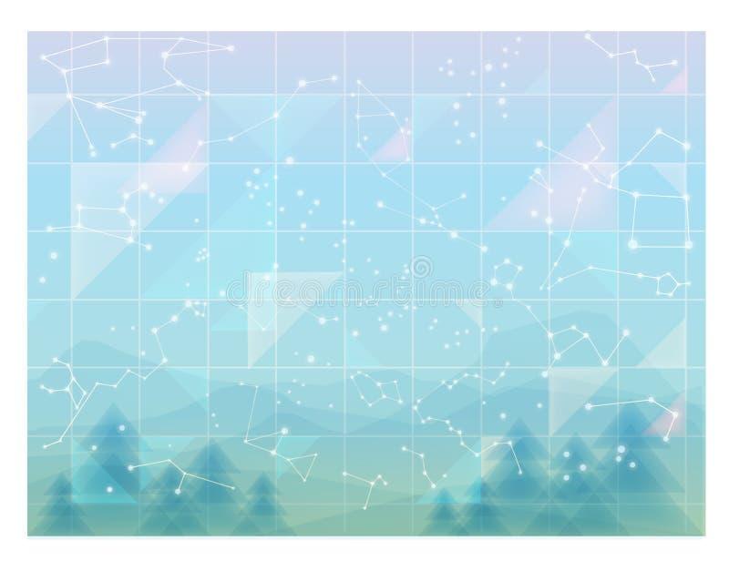 Ciel abstrait, papier peint minimal de constellations illustration de vecteur