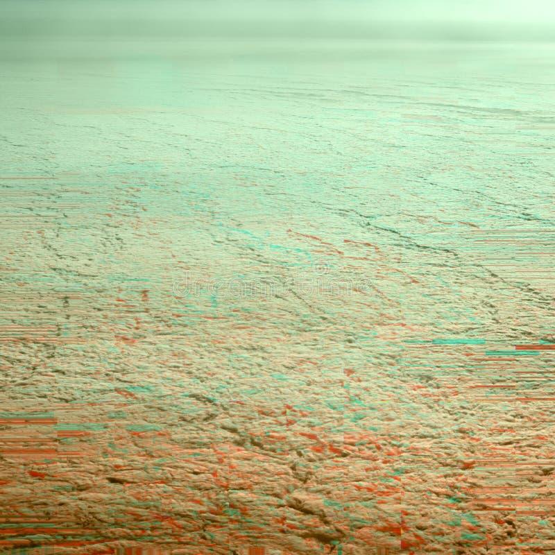 Ciel au-dessus des nuages dans le gradient et les couleurs oranges vert-bleu avec l'effet de problème et la texture d'écran Fond  images stock