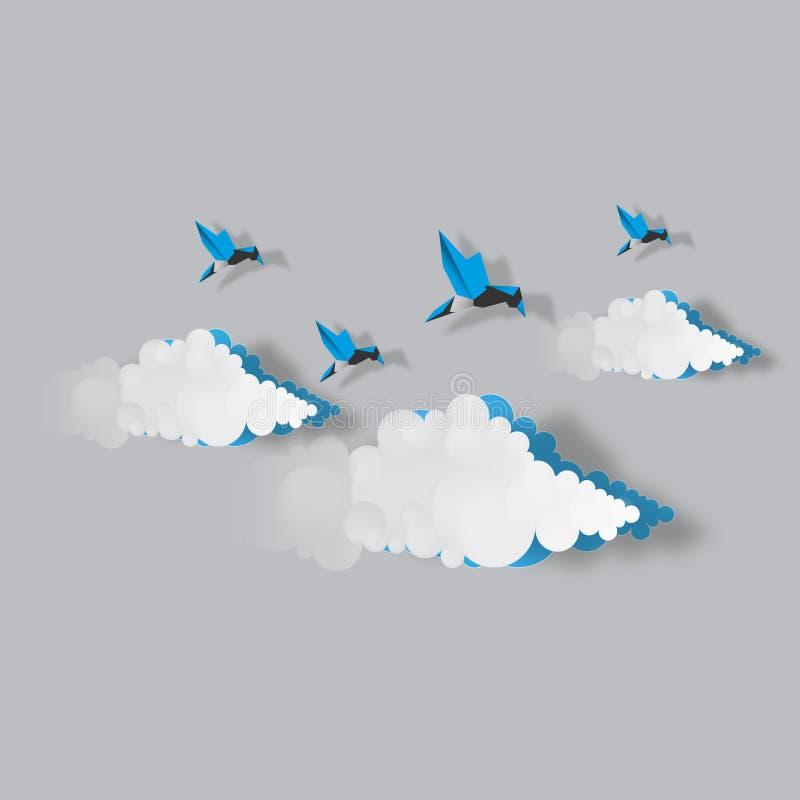 ciel avec la conception de vecteur de nuages et d'oiseaux illustration stock