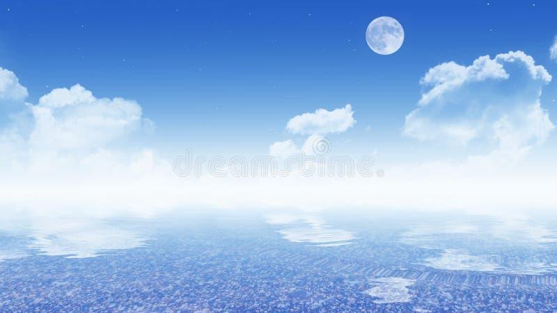Ciel avec la mer (papier peint de 16:9) photo stock