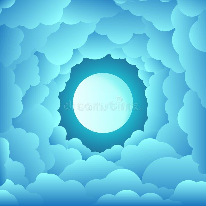 Ciel avec les nuages circulaires le jour de nuit avec la pleine lune illustration libre de droits