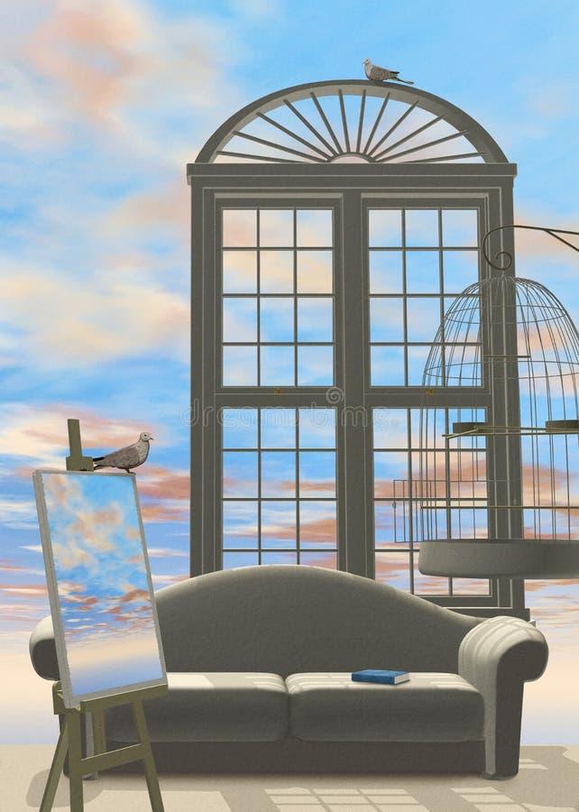 Ciel B4 à la maison illustration de vecteur