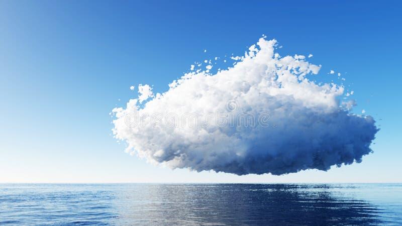 Ciel bleu avec des nuages au-dessus de remder de la mer 3D images stock