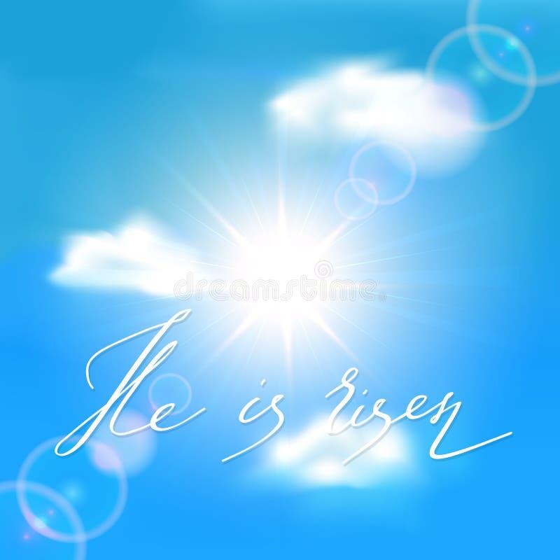 Ciel bleu avec le soleil et le lettrage il est levé illustration stock