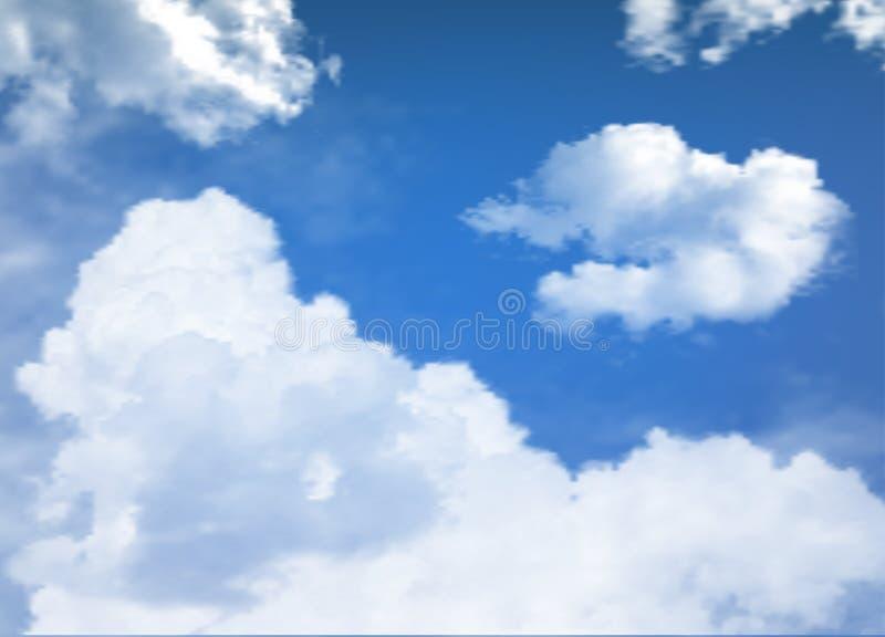 Ciel bleu avec le vecteur de nuages illustration stock