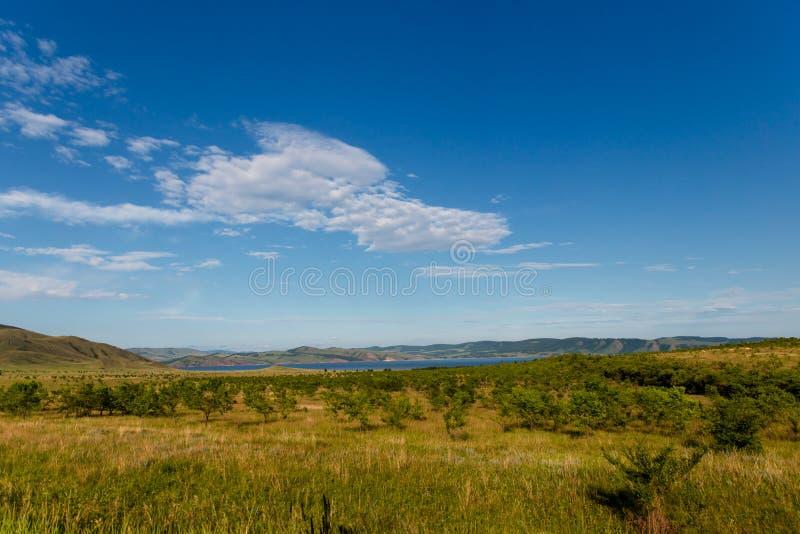 Ciel bleu avec les nuages, les arbres, les champs et les prés blancs avec l'herbe verte, contre les montagnes Composition de natu photos libres de droits