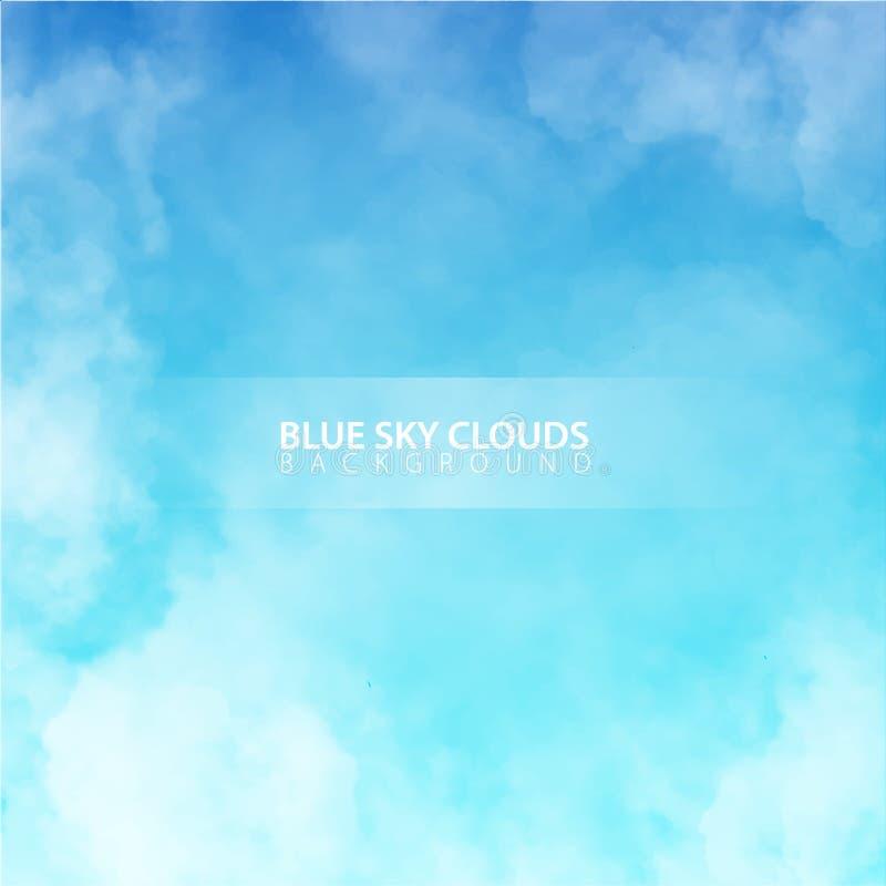 Ciel bleu avec les nuages réalistes blancs Illustration de vecteur illustration stock