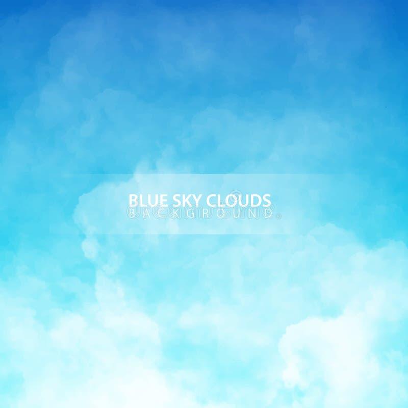 Ciel bleu avec les nuages réalistes blancs Illustration de vecteur illustration de vecteur