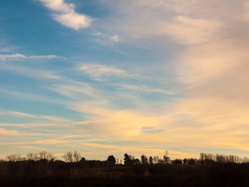 Ciel bleu de campagne avec la nature vide de l'espace d'horizon d'arbres photographie stock