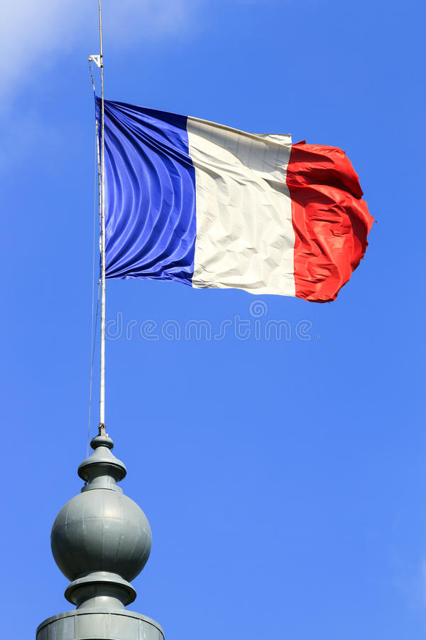 Ciel bleu de drapeau français images libres de droits