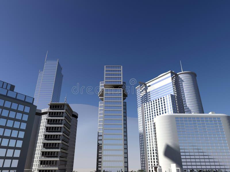 Ciel bleu et gratte-ciel images stock